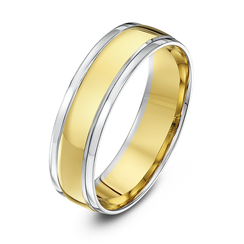 9kt White & Yellow Gold Court 6mm Wedding Ring
