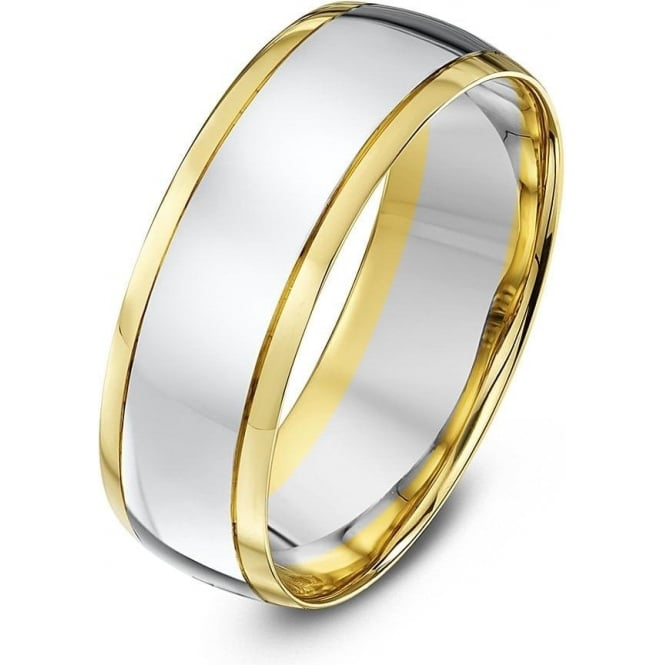Star Wedding Rings 9ct White & Yellow Gold Court Shape 7mm Wedding Ring