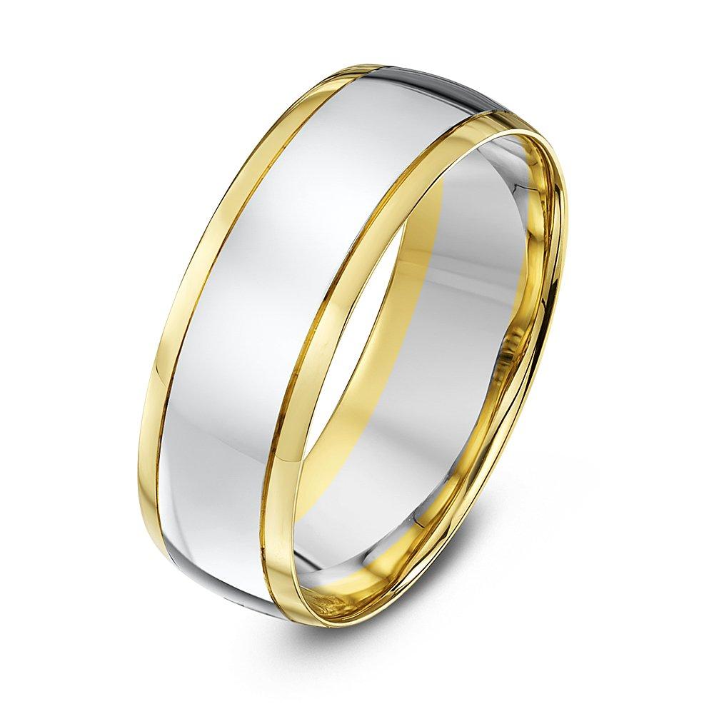 9kt white yellow gold court 7mm wedding ring