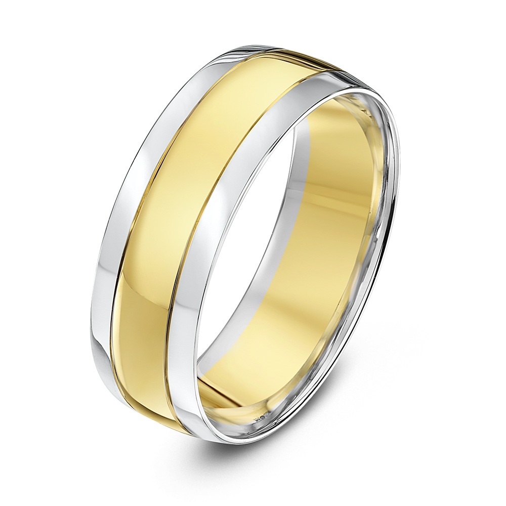 9kt white yellow gold court grooved 7mm wedding ring With white and yellow gold wedding ring