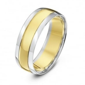9ct White & Yellow Gold Court Shape Grooved 7mm Wedding Ring