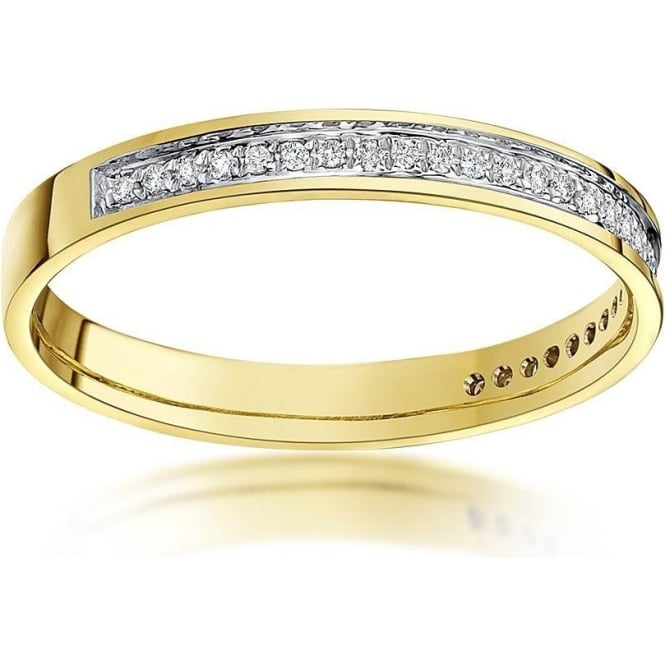 Star Wedding Rings 9ct Yellow Gold  3mm Round 0.15 carat Diamond Eternity Wedding Ring