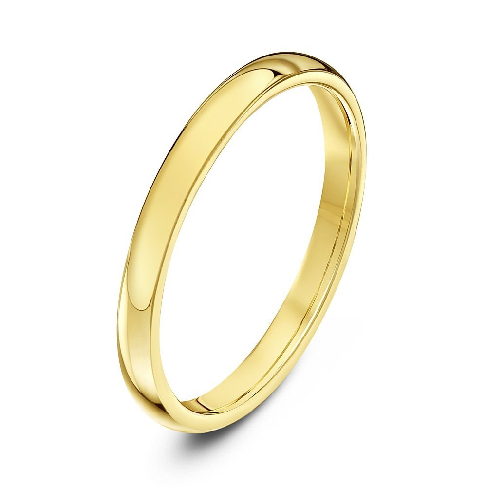 9kt yellow gold heavy court 2mm wedding ring