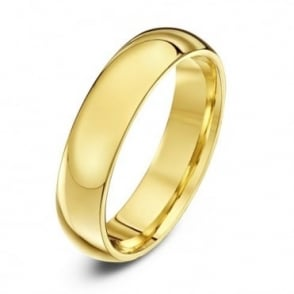 9ct Yellow Gold Heavy Court Shape 5mm Wedding Ring
