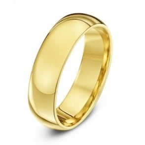 9ct Yellow Gold Heavy Court Shape 6mm Wedding Ring