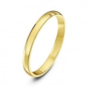 9ct Yellow Gold Heavy D 2mm Wedding Ring