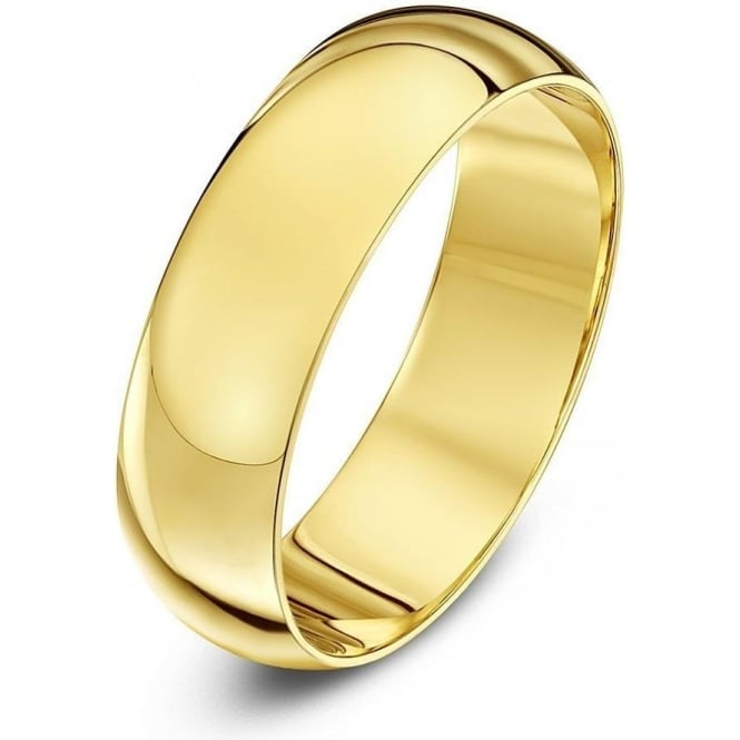 Star Wedding Rings 9ct Yellow Gold Heavy D-Shape 6mm Wedding Ring
