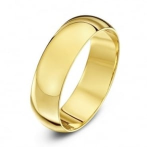 9ct Yellow Gold Heavy D-Shape 6mm Wedding Ring