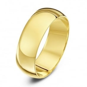 9ct Yellow Gold Heavy D Shape 7mm Wedding Ring