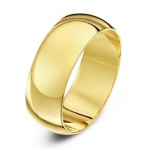 9ct Yellow Gold Heavy D Shape 8mm Wedding Ring