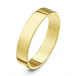 9ct Yellow Gold Heavy Flat 4mm Wedding Ring
