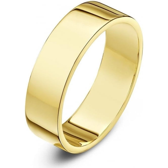 Star Wedding Rings 9ct Yellow Gold Heavy Flat 5mm Wedding Ring