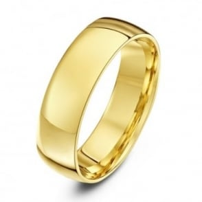 9ct Yellow Gold Light Court Shape 6mm Wedding Ring