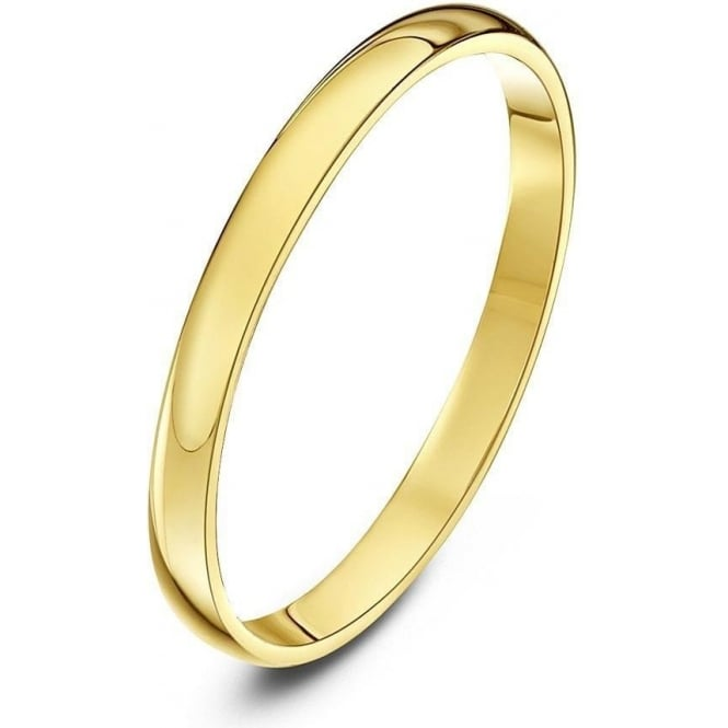 Star Wedding Rings 9ct Yellow Gold Light D 2mm Wedding Ring