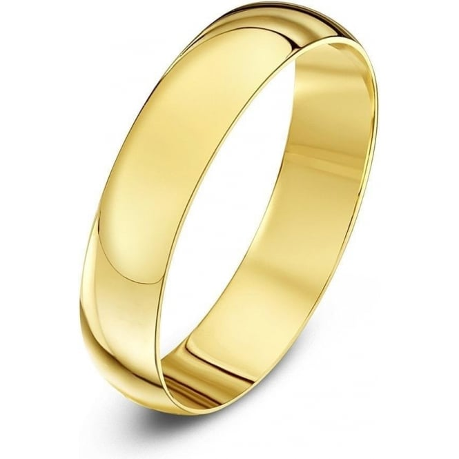 Star Wedding Rings 9ct Yellow Gold Light D-Shape 3mm Wedding Ring