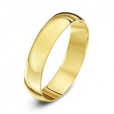 9ct Yellow Gold Light D-Shape 3mm Wedding Ring