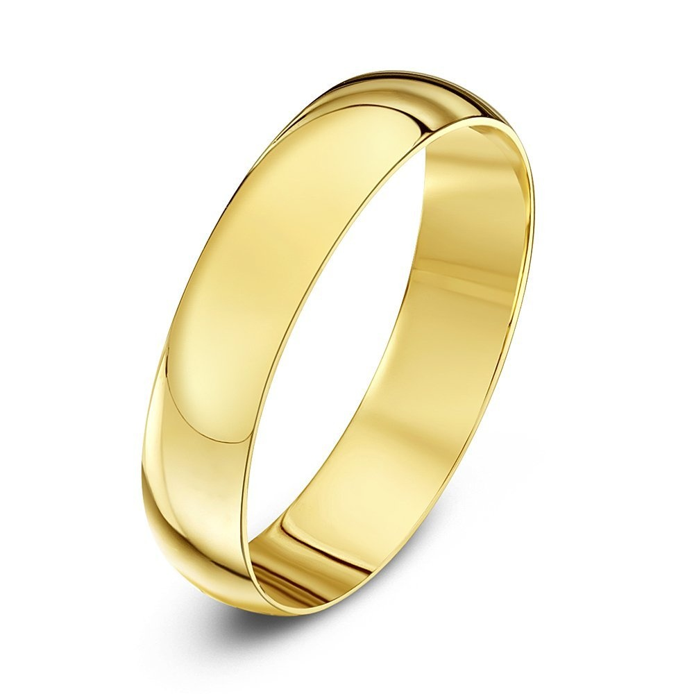 Gold Wedding Rings.Star Wedding Rings 9ct Yellow Gold Light D Shape 4mm Wedding Ring