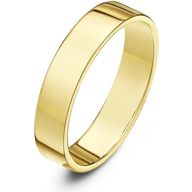 Star Wedding Rings 9ct Yellow Gold Light Flat Court Shape 4mm Wedding Ring