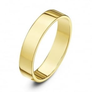 9ct Yellow Gold Light Flat Court Shape 4mm Wedding Ring