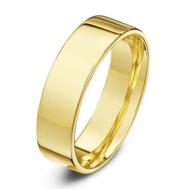 9ct Yellow Gold Light Flat Court Shape 5mm Wedding Ring