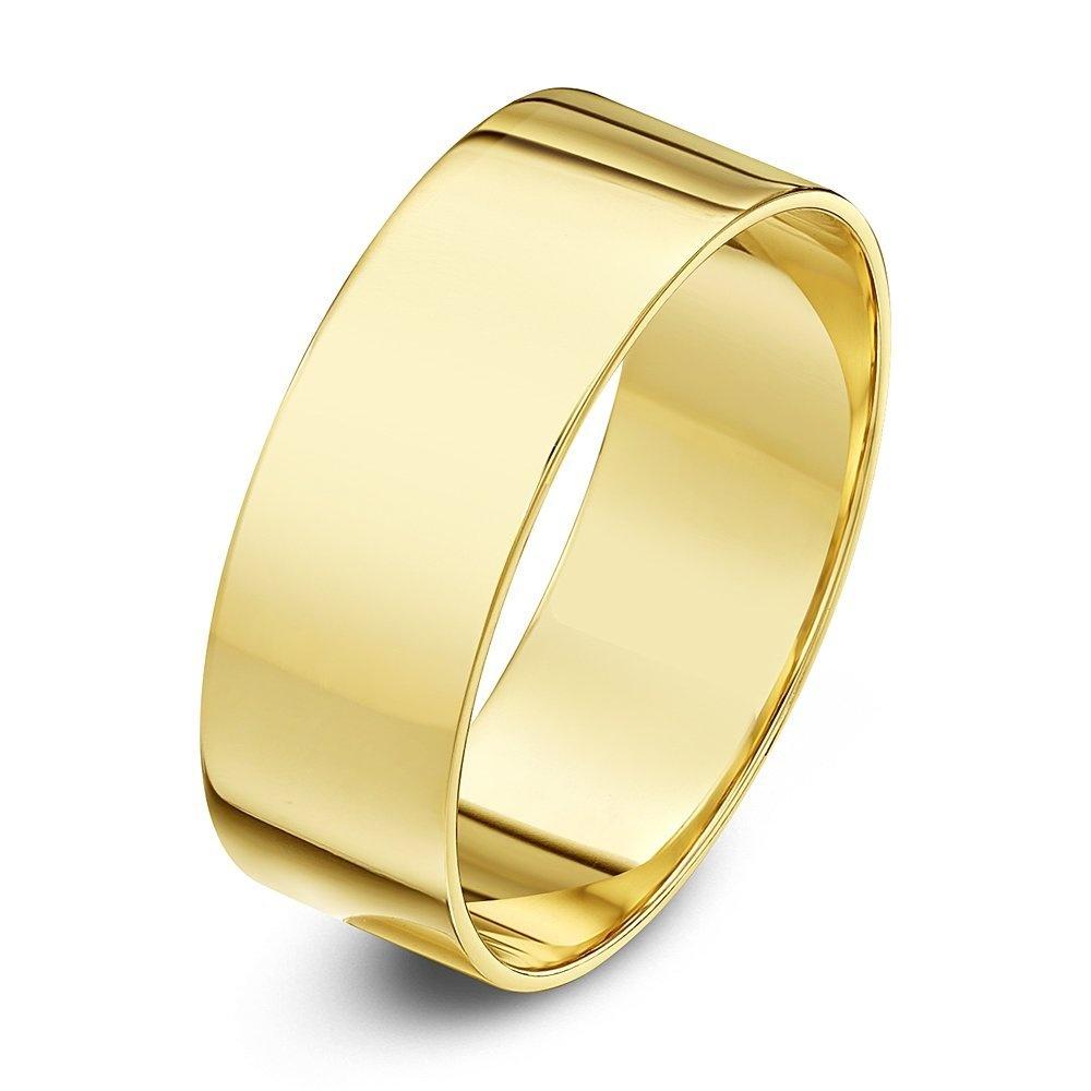 9ct Yellow Gold Light Weight Flat Shape 7mm Wedding Ring