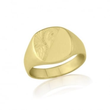 Cushion-Shaped 9ct Yellow Gold Heavy Weight Engraved Signet Ring