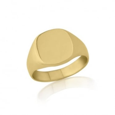 Cushion-Shaped 9ct Yellow Gold Heavy Weight Signet Ring