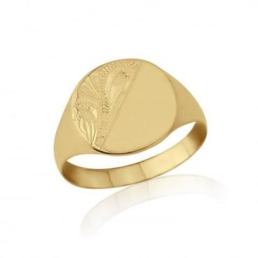 Cushion-Shaped 9ct Yellow Gold Light Weight Engraved Signet Ring