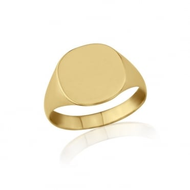Cushion-Shaped 9ct Yellow Gold Light Weight Signet Ring