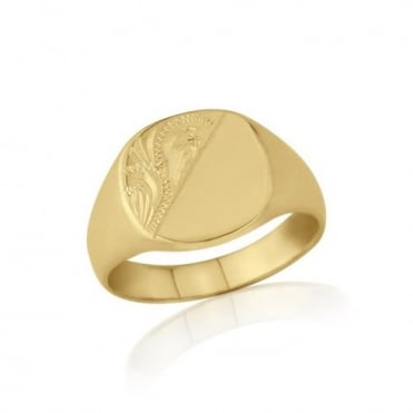 Cushion-Shaped 9ct Yellow Gold Medium Weight Engraved Signet Ring