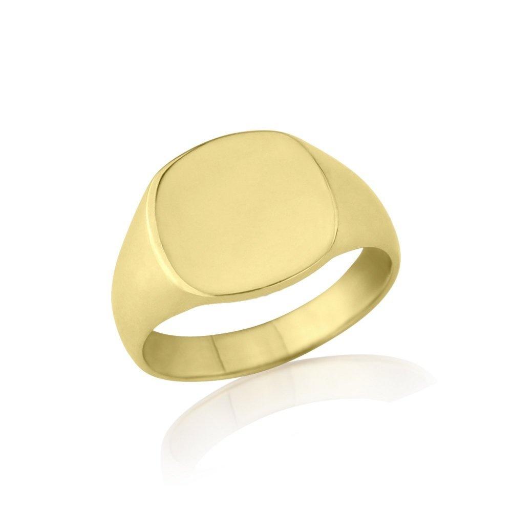 9kt Yellow Gold Cushion Signet Ring