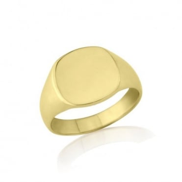 Cushion-Shaped 9ct Yellow Gold Medium Weight Signet Ring