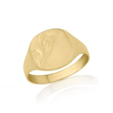 Gold Engraved Cushion-Shaped Signet Ring