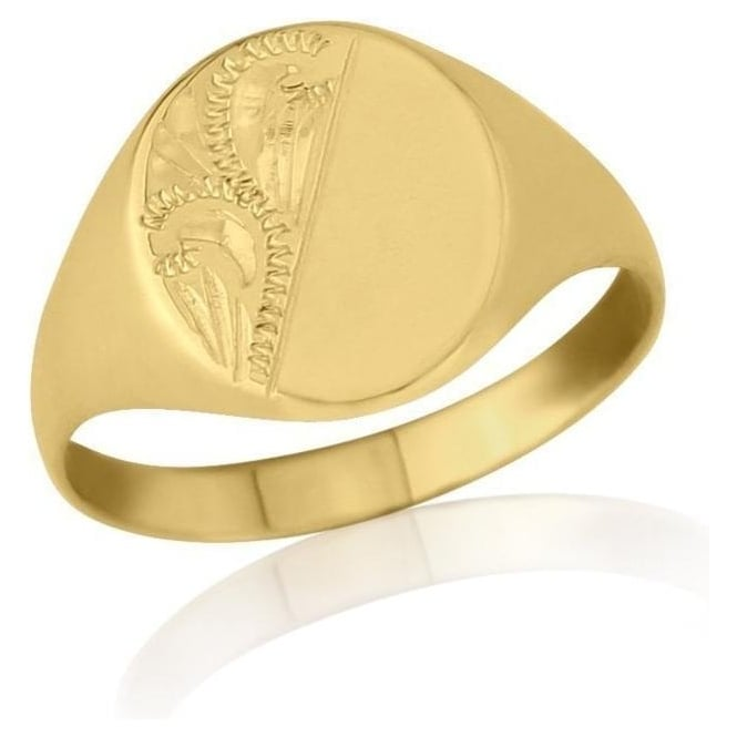 Star Wedding Rings Gold Engraved Oval-Shaped Signet Ring