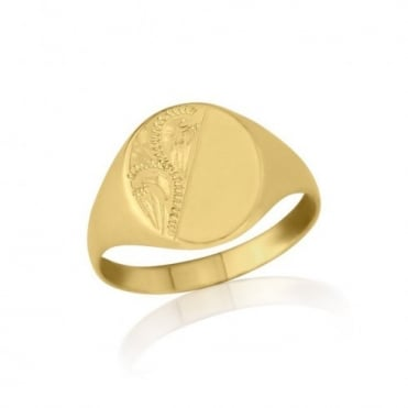Gold Engraved Oval-Shaped Signet Ring