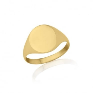 Gold Oval-Shaped Signet Ring