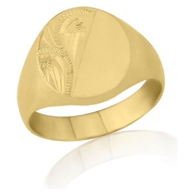 Star Wedding Rings Oval-Shaped 9ct Yellow Gold Extra-Heavy Weight Engraved Signet Ring