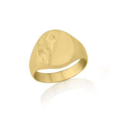 Oval-Shaped 9ct Yellow Gold Heavy Weight Engraved Signet Ring