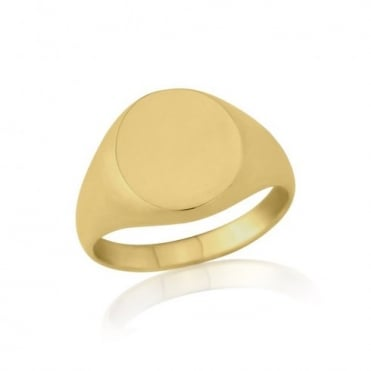 Oval-Shaped 9ct Yellow Gold Heavy Weight Signet Ring