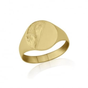 Oval-Shaped 9ct Yellow Gold Light Weight Engraved Signet Ring