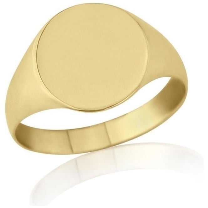 Star Wedding Rings Oval-Shaped 9ct Yellow Gold Light Weight Signet Ring