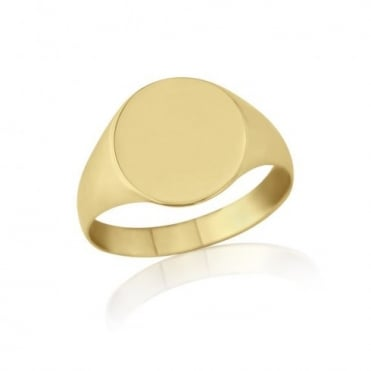 Oval-Shaped 9ct Yellow Gold Light Weight Signet Ring