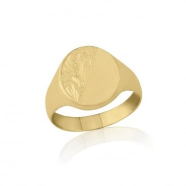 Oval-Shaped 9ct Yellow Gold Medium Weight Engraved Signet Ring