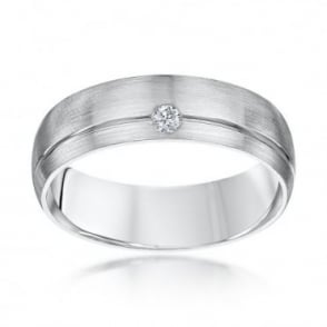 Palladium Court Shape Diamond 6mm Matt Wedding Ring