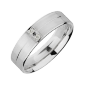 Palladium Matt and Polished Diamond 5mm Wedding Ring