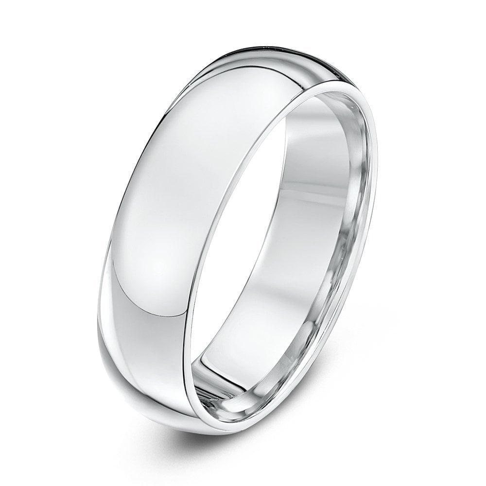 Platinum Wedding Rings.Platinum Heavy Court Shape 6mm Wedding Ring