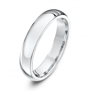 Silver Heavy Court Shape 4mm Wedding Ring