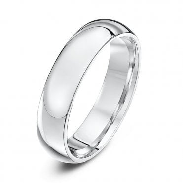Silver Heavy Court Shape 5mm Wedding Ring