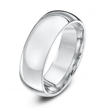 Silver Heavy Court Shape 7mm Wedding Ring