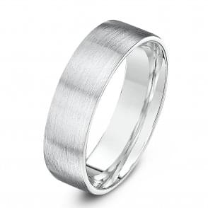 Silver Heavy Flat Court Shape Matt Finish Wedding Ring